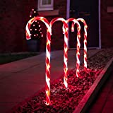 Festive Lights - 4er Set - beleuchtete Zuckerstangen Dekoration - 40 LEDs - strombetrieben - für Außen & Innen