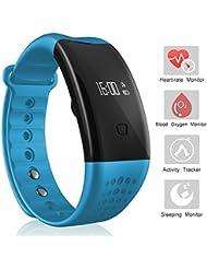 Sports Bracelet, Arvin fréquence cardiaque montre sang oxygène moniteur de pression sanguine Smart Watch tracker de fitness podomètre montre de sport Bluetooth Santé tracker Bracelet avec moniteur de sommeil/Step tracker/compteur de calories brûlées/réveil/appel et rappel de message/Sédentaires rappel pour Android et iOS Smartphone