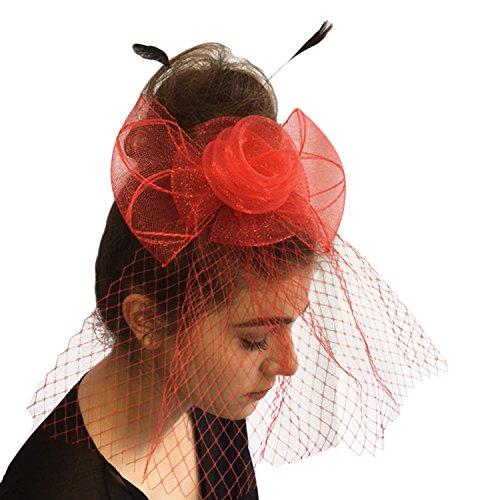 Rot-haar-feder-haar-bogen (TOSKATOK® Damen-Frauen Fascinator Stirnband Hut Kopfschmuck für Hochzeit Rennen)