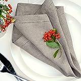 Linen & Cotton 4 x Luxus Stoffservietten FLORENCE mit Hohlsaum - 43cm x 43cm, 100% Leinen (Beige)