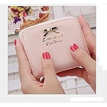 Distinct® nuova borsa delle donne di cuoio Mini portafoglio carta titolare Zip piccola moneta frizione (rosa)