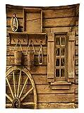 Yeuss Tischdecke für den Außenbereich, antikes altes Wagenrad neben rustikalem Holzhaus Vintage Laterne Fenster Eimer Druck, dekorative Waschbare Picknick-Tischdecke, Braun, 60
