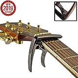 TAKIT Cejilla para Guitarra Acústica y Eléctrica - GARANTÍA DE POR VIDA - Apta para Ukelele, Banjo y Mandolina - Profesional, Alto Rendimiento - Fabricada con Aleación de Zinc - Bronce