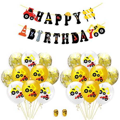 Amosfun 23 stücke Bagger Ballon BAU LKW Dekoration Alles Gute zum Geburtstag LKW Banner (12 stücke Bagger Muster + 8 stücke Pailletten Luftballons + 1 stück Banner + 2 Rollen Band) (Bau-geburtstags-ballons)