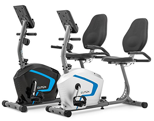 Liegehemitrainer LX300 Sitzheimtrainer Fitnessbike mit Computer Pulssensoren Smartphone Halterung Schwarz