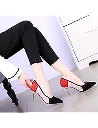 KPHY-Bien Con Solo Zapatos Mujer Nueva Primavera Ejercicios Consejos De Agua Luz Tacones De 9Cm Con El Color El Estilo El Retrato De La Calle Sexy Zapatos De Mujer 37 Negro