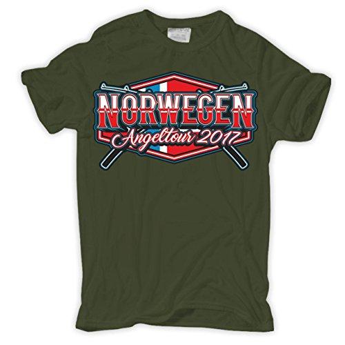 T-Shirt Norwegen 2017 Angler Tour Olive
