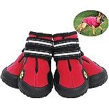 JunBo 4Pcs Hundeschuhe Pfotenschutz mit Reflektierender Riemen Hundeschuhe Wasserdicht Rutschfeste für Mittlere und Große Hunde (4#, Rot)