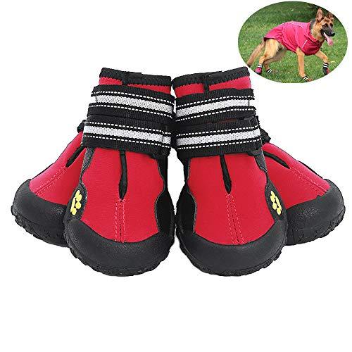 Petilleur Zapatos para Perros Antideslizantes Botas para Perros Mediano y Grandes (6#, Rojo)
