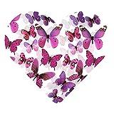 DEKOWEAR® 3D Schmetterlinge realistisch | Wanddekoration mit Klebepunkten zur Fixierung Wandtattoo Wandsticker Wanddeko | Schmetterling Deko [Lila, 12er Set]