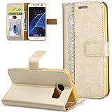 FNBK Galaxy S7 Handyhülle Glitzer Strass Blumen Design Ultra Slim Fit Leder Wallet Folio Flip Card Holder Magnetverschluss Stoßfeste Schale für Frauen