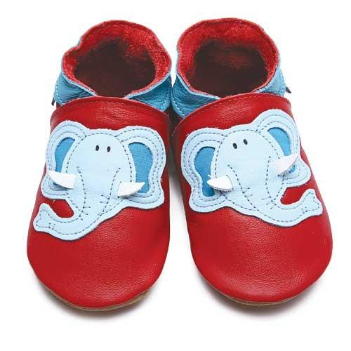 Inch Blue - 1825 XL - Chaussures Bébé Souples - Eléphant - Rouge / Bleu ciel - T 22-23 cm - 18-24 mois