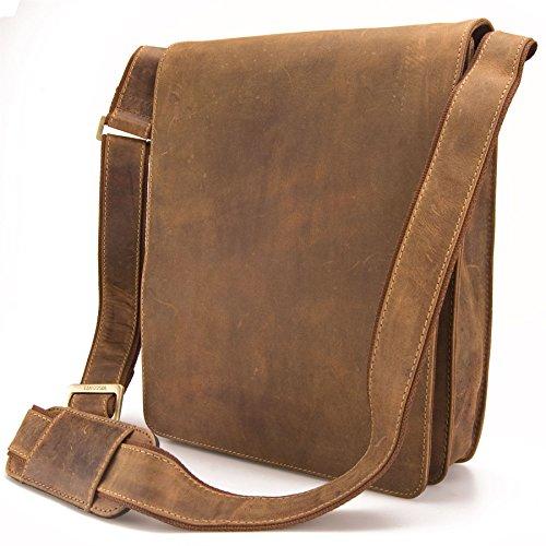 Visconti Hunter - Borsa da spalla / a tracolla - adatta per iPad - in pelle a olio invecchiata - JASPER # 18410 Oiled Tan