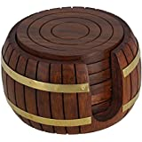 RGRANDSONS® Wooden Tea Coaster Wooden Drink Coaster Wooden Table Coaster Set Of 6 For Tea Cups Coffee Mugs Beer Cans Bar Tumblers And Water Glasses