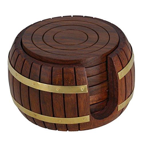Sottobicchiere da bibita in legno con sottobicchiere da tè in legno di design, 6 sottobicchiere con supporto a botte, unico per cucina, tavolo, bicchieri, sottobicchiere di caffè con supporto