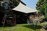 Cool Area Tenda a vela rettangolare 2 x 3 metri protezione raggi UV, resistente e traspirante (vari colori e misure), Color crema