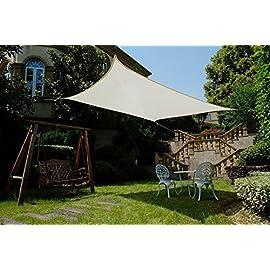 Cool Area Tenda a Vela Rettangolare 3 x 4 Metri Protezione Raggi UV Colore Terra Vela Ombraggiante Resistente e Traspirante per Giardino Balcone Terrazza