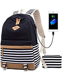 "Netchain Canvas Stripe Backpack fits 15.6"" Laptop for Teenager Girls with USB Charging Port 1 Purse Bag and Lunch Tote Bag Pack of 2/3 Black/Blue/Green"