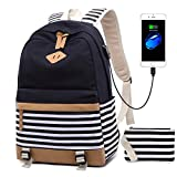 Netchain Tela Zaino Scuola Ragazza Donna Zainetto Vintage Canvas Backpack Casual Daypacks per 15.6in Laptop, USB Charging Port(Nero)