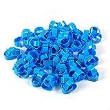 HEEPDD Bague de Pied Volailles 6Colors 100PCS / Sac 16MM 001-100 Numéroté en Plastique Poulets de Volailles Canards Oie Jambe Bandes Anneaux Clip-on Bande D'identification De La Volaille(Blue)