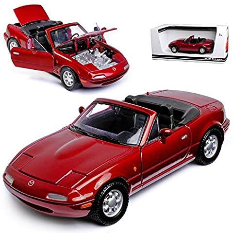 Mazda MX-5 Cabrio Dunkel Rot Metallic 1. Generation NA 1989-1998 1/24 Motormax Modell Auto mit individiuellem (Modellauto Mazda Mx 5)