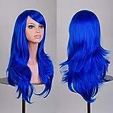 Tenflyer® Frauen Cosplay lockige Perücken mit Pony langes gelocktes Haar Fluffy Gelockt (blau)