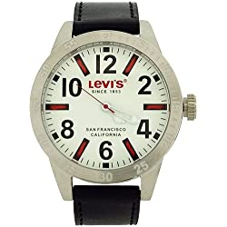 Levi's Gents Analogue Thread Index White Dial Black Leather Strap Watch LTG0801