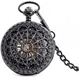 Infinite U High-end Skeleton Cool Spiderweb Big Steel Black Mechanical Pocket Watch