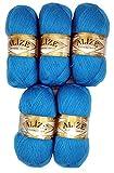 5 x 100 g Alize Strickwolle mit Mohair, blau Nr. 245 zum Stricken und Häkeln, 500 Gramm Wolle