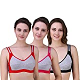 #9: Alazne Women's Cotton Non-Padded Full Coverage Sports Bra Combo Pack of 3 (Size- 28 to 40)