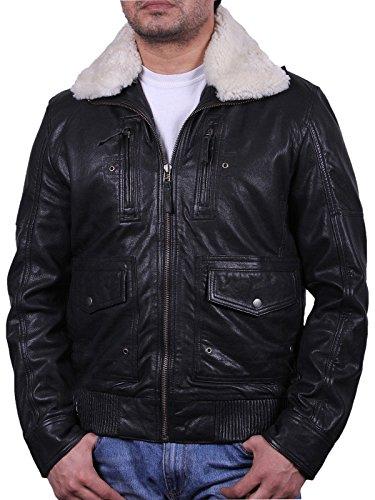 Männer schwarze Lammnappa Jacke mit abnehmbarer Fleece Kragen
