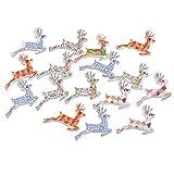 Souarts - Bottoni a forma di renne natalizie, 2 fori, in legno, confezione da 50 pezzi