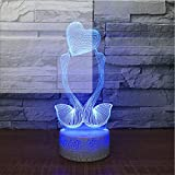 3D Veilleuses Usb 7 Couleur 3D Led Bande Dessinée Veilleuse Cygne Baiser En Forme De Coeur Modélisation Tactile Bouton Lampe De Bureau De Bureau Ambiance Romantique Décor Éclairage