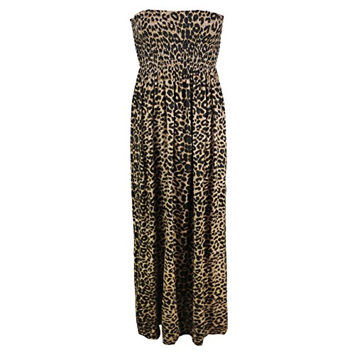 Candid Styles Damen Bandeau Kleid Leopardenmuster
