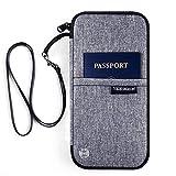 Reiseorganizer Reisepass Tasche - Luxsure Wasserabweisende Reiseunterlagen Mappe Ausweistasche Reisedokumententasche Travel Wallet Organizer Tickettasche für Damen Herren (Grau)