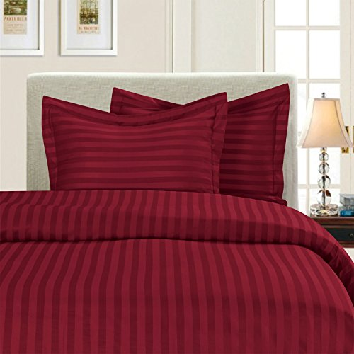Eleganten Komfort® Falten & farbbeständige 1500Fadenzahl–Damast Streifen Ägyptische Qualität Luxuriös seidig weich Bettbezug-Set, King/Cal-King, Burgund -