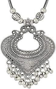 YZBuyer Stylish Traditional Ethnic Silver Plated Necklace, Hand - Made Oxidised Silver Plated Drop, Classy Lux