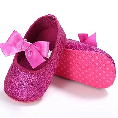 Culater® Ragazza del bambino Presepe dell'arco del fiore morbida suola antiscivolo Scarpe Sneakers Rosa caldo