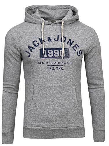 JACK & JONES Herren Kapuzenpullover JJEJEANS Sweat Hood NOOS, Grau (Light Grey Fit: Reg Fit-Melange), X-Large Jones Sweat Light