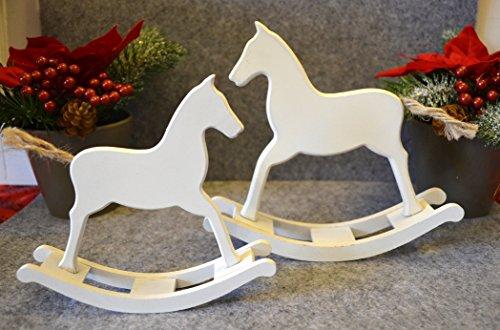 Schaukelpferd aus Holz 2 Stück Satz ca. 14cm/17cm weiß Weihnachten Winterdeko Xmas Deko Skulptur