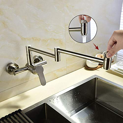 Jackeylove Faucet Wall Mount Falten Stretchable Double Joint Swing Arm Kitchen Sink Faucet Edelstahl Zwei Handle Wand Mount Faucet, Brushed Nickel Swing Arm Wall Mount