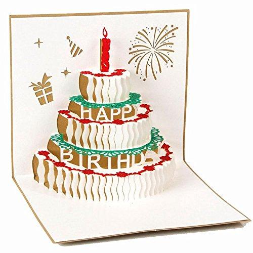 Geburtstag Kuchen Gold 3D Pop up Grußkarten Jahrestag Baby Geburtstag Ostern Halloween Mutter Vater New Home NEW YEAR Thanksgiving Valentine Hochzeit Weihnachten