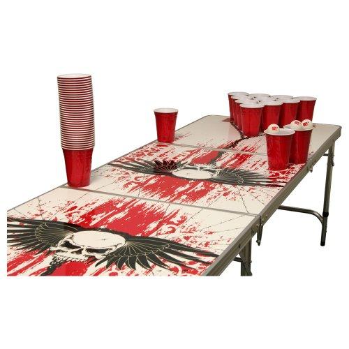 Skull Beer Pong Set - 1 Bierpong Tisch inkl. 50 SOLO Red Cups und 6 Bällen (Bier-pong-sprüche)