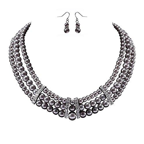ArtiDeco 1920s Damen Halskette Hochzeit Braut Schmuck Accessoires Set Imitation Perlen Kette Retro Stil Armband und Ohrringe Gatsby Kostüm Zubehör (Grau) - Halskette Perlen Braut