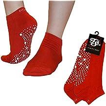 Pilates, Yoga, Artes Marciales, Fitness, Danza, Barre. Antideslizante / antideslizante, Prevención de Caídas, Calcetines Grip, Medias (Rojo / Blanco) Grip Socks
