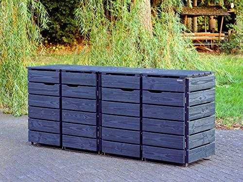 4er Mülltonnenbox / Mülltonnenverkleidung 120 L Holz, Deckend Geölt Anthrazit Grau - 2