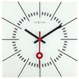 NEXTIME Orologio da Parete Stazione, Molto Silenzioso, Quadrato, in Vetro, Bianco, 35x 35cm