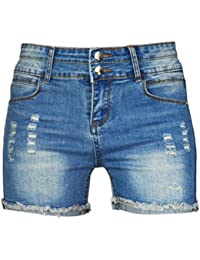 PHOENISING Women s Sexy Ripped Hole Short Shorts Fashion Jeans Distressed  Denim Pants 66d9310e9d03