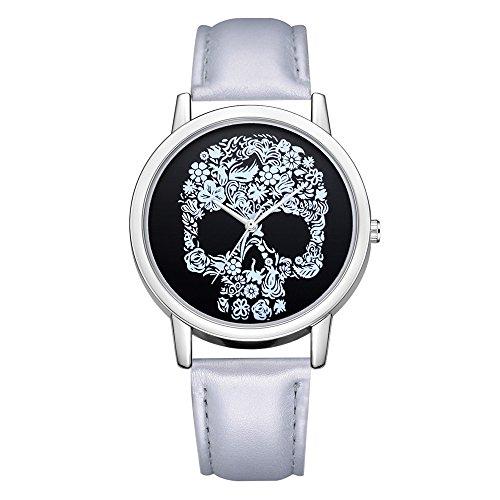 Uhren DamenLuxuriös Mode Lederband Armbanduhr analoge Quarz Runde Armbanduhr Uhren Fashion Diamond Sportuhr Lederarmband Watch Schädel Muster Klassisch Uhr,ABsoar