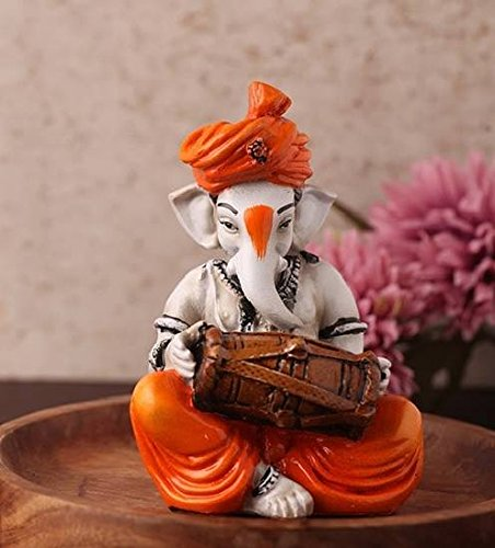 Karigaari-Ganesha-Playing-Dholak-Polyresine-Idol-164-cm-x-14-cm-x-1321-cm
